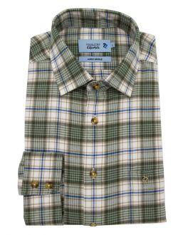Green Check Long Sleeve Casual Shirt