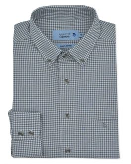 Grey Mini Gingham Check Long Sleeve Casual Oxford Shirt