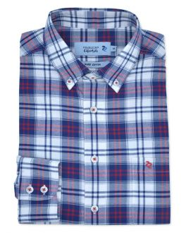 Red Oxford Weave Check Long Sleeve Casual Oxford Shirt