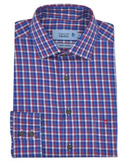 Red Twill Check Long Sleeve Casual Shirt