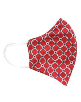 Red Link Patterned Cotton Face Mask