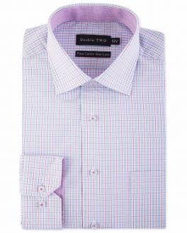 Purple Grid Check Formal Shirt
