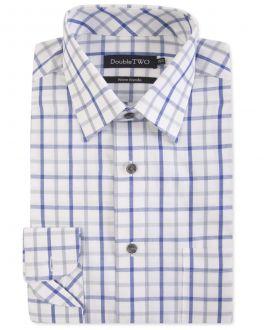 Navy Twill Check Warm Handle Formal Shirt