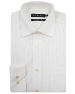 Ivory Self Satin Stripe Formal Shirt