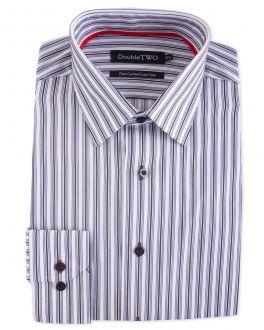 White Varied Satin Stripe Formal Shirt