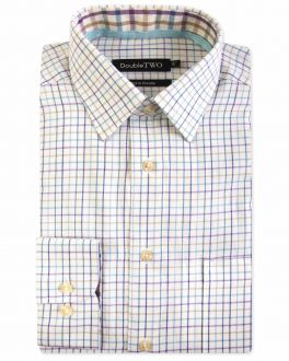 Purple Tattersall Check Warm Handle Formal Shirt