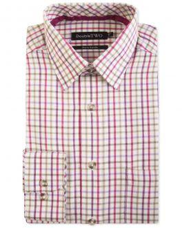 Berry Check Warm Handle Formal Shirt