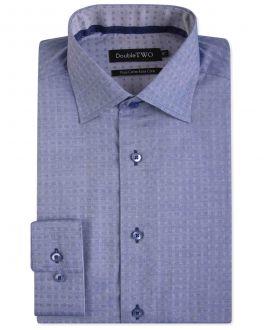 Blue Dobby Weave Patterned Formal Shirt