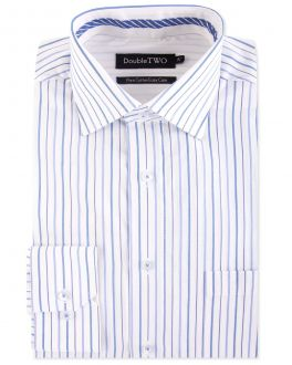 Blue Mini Grid Stripe Formal Shirt