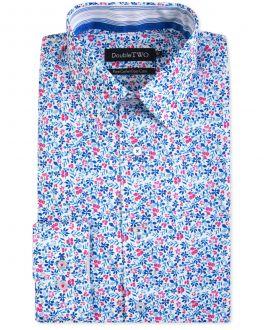 Blue Floral Patterned Formal Shirt