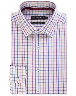 Wine Multi Bold Check 100% Cotton Formal Shirt