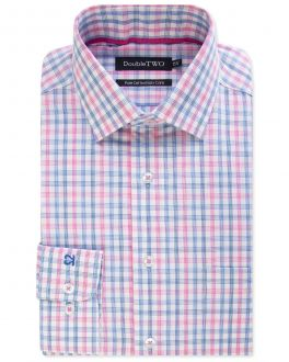 Pink and Blue Check 100% Cotton Formal Shirt