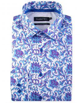 Blue and Purple Baroque Print Formal Shirt