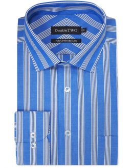Blue and White Bold Striped 100% Cotton Formal Shirt