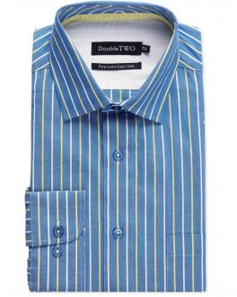 Blue and Yellow Bold Stripe Formal Shirt