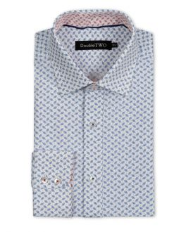Blue and White Mini Leaf Print Formal Shirt