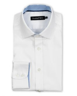 White and Blue Contrast Circle Trim Formal Shirt