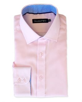 Pink and Blue Contrast Circle Trim Formal Shirt