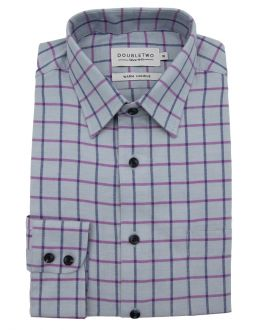 Blue and Lilac Tattersall Large Check Long Sleeve Shirt