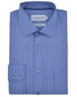 Navy Checkered Long Sleeve Formal Shirt