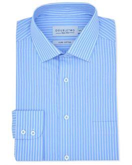 Light Blue Striped Long Sleeve Formal Shirt