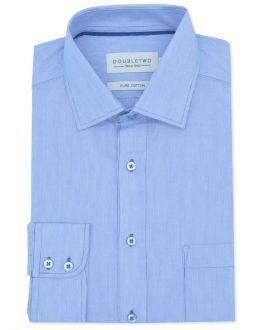 Blue Fine Striped Long Sleeve Formal Shirt