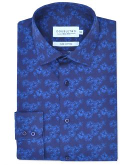 Navy Printed Long Sleeve Formal Shirt