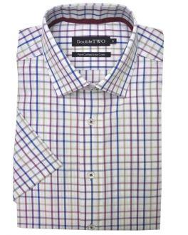Wine Coloured Summer Tattersall Check Short Sleeve Shirt