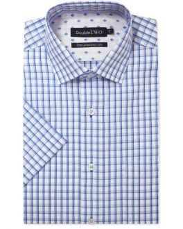 Blue Short Sleeve Check Formal Shirt