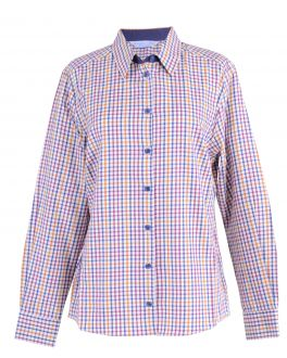 Gold Check Semi Fitted Casual Warm Handle Blouse