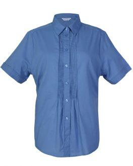 Indigo Pleated Classic Fit Short Sleeve Blouse