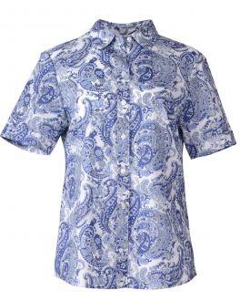 Blue Paisley Classic Fit Short Sleeve Blouse