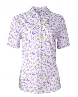 Lilac Butterfly Fitted Short Sleeve Blouse
