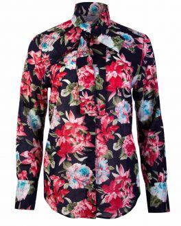 Navy Floral Tie Neck Classic Fit Women's Shirt