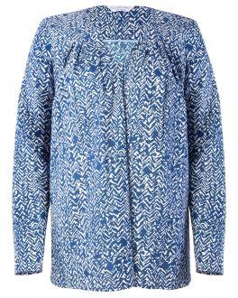 Royal Blue Abstract Print Women's Blouse