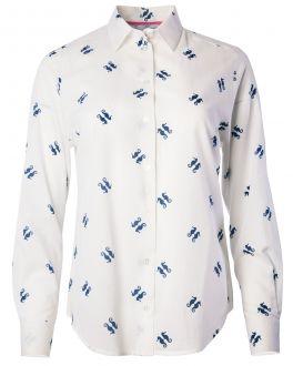 Navy and White Seahorse Print Women's Shirt
