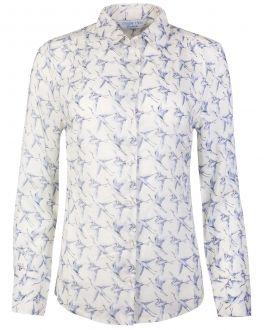 Grey Bird Print Women's Shirt