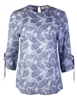 Soft Blue Feather Print Women's Tunic Top