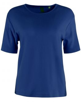 Double TWO Woman Plain Navy T-Shirt Front