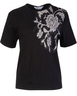Double TWO Woman Black Lace Print Women's T-Shirt Front