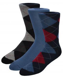 Diamond Patterned Cotton Rich Socks (pack of 3)