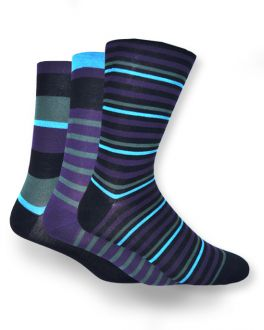Black and Blue Stripe Bamboo Socks (Pack of 3)