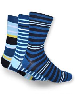 Dream Blue Stripe Bamboo Socks (Pack of 3)
