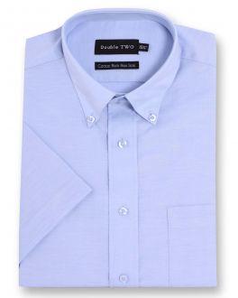 Blue Short Sleeve Non-Iron Button Down Oxford Shirt