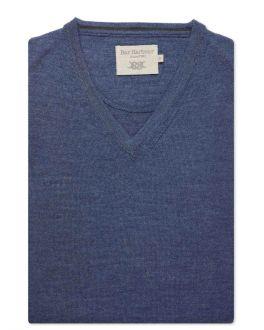 Denim Blue Sleeveless V-Neck Slipover Jumper