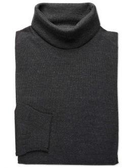 Black Merino Blend Roll Neck Jumper