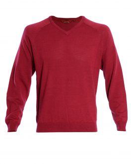 Raspberry Long Sleeve V Neck Sweater