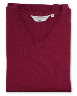Raspberry Sleeveless V Neck Sweater