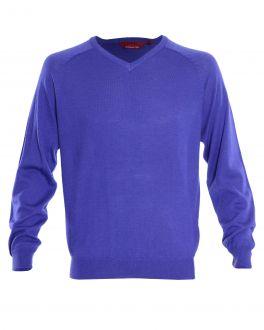 Purple Long Sleeve V Neck Sweater