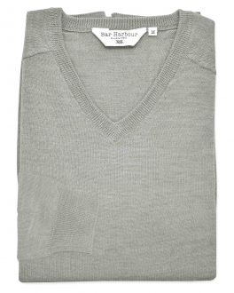 Marl Grey Long Sleeve V-Neck Merino Blend Jumper